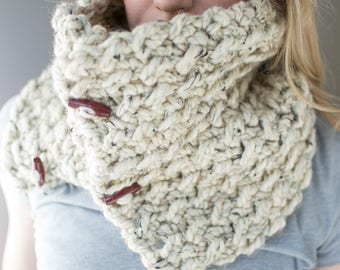 Signature Cowl | Oatmeal Tweed | Knit-Texture Crochet Button Cowl Scarf