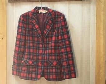 50's  vintage Pendelton  wool  tartan plaid woman's blazer  size 6