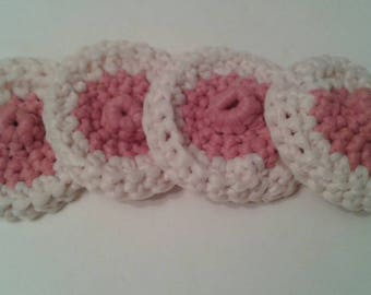 Boob Nipple Breast Nylon Tulle Dish Scrubbies-Sets of 2-8-Nursing-Boobie-Funny Handmade-Gag Gift-Bachelorette-Mom-Breastfeeding-Pot Scrubber