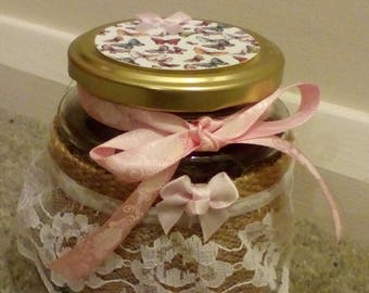 Beautiful hand decorated glass jar