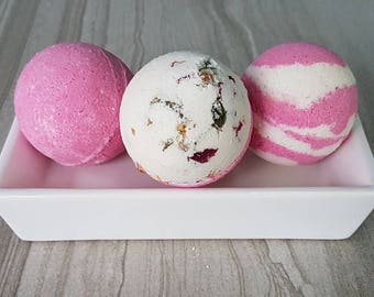 Pink Bath Bomb Set, Rosebud Bath Fizzy, Bath Fizzie, Pink Bathbomb, Rose Bath Bomb, Pink Bath Soak, Fizzy Bath Bomb, Bath Boom Gift Set of 3