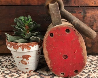 Antique Red Painted Double Barn Pulley, Antique Pulley, Anvil Pulley, Wooden Pulley