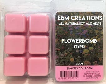 Flowerbomb (Type) - Scented All Natural Soy Wax Melts - 6 Cube Clamshell 3.2oz