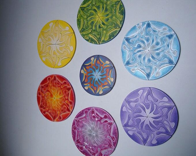 Chakra - Puzzle Artwork Set Mandala Art Play Heal Energy Sacred Geometry Wall Decor Gift Handmade Acrylic on Wooden Pieces, by Samo Svete