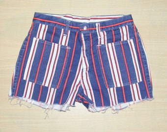 Size 6-8 vintage 70s high waist cutoff hotpant jean shorts blue/red stripe denim