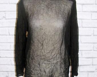 Size 12 vintage 90s loose l/sleeve blouse foldover high neck sheer black (IA91)