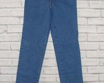 Size 6-8 vintage 80s deadstock high waist mom jeans straight leg denim (HX58)