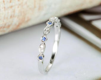 Sapphire Wedding Band White Gold Diamond Half Eternity Band Art Deco Stacking Ring Women Antique Matching Band Anniversary Gift For Her Thin