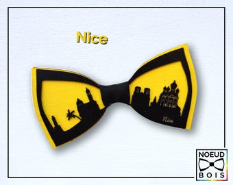 Wooden bow tie, NicePattern, road trip collection, laser cut, engraved, customizable, city outline, travel, around the world, France, yellow