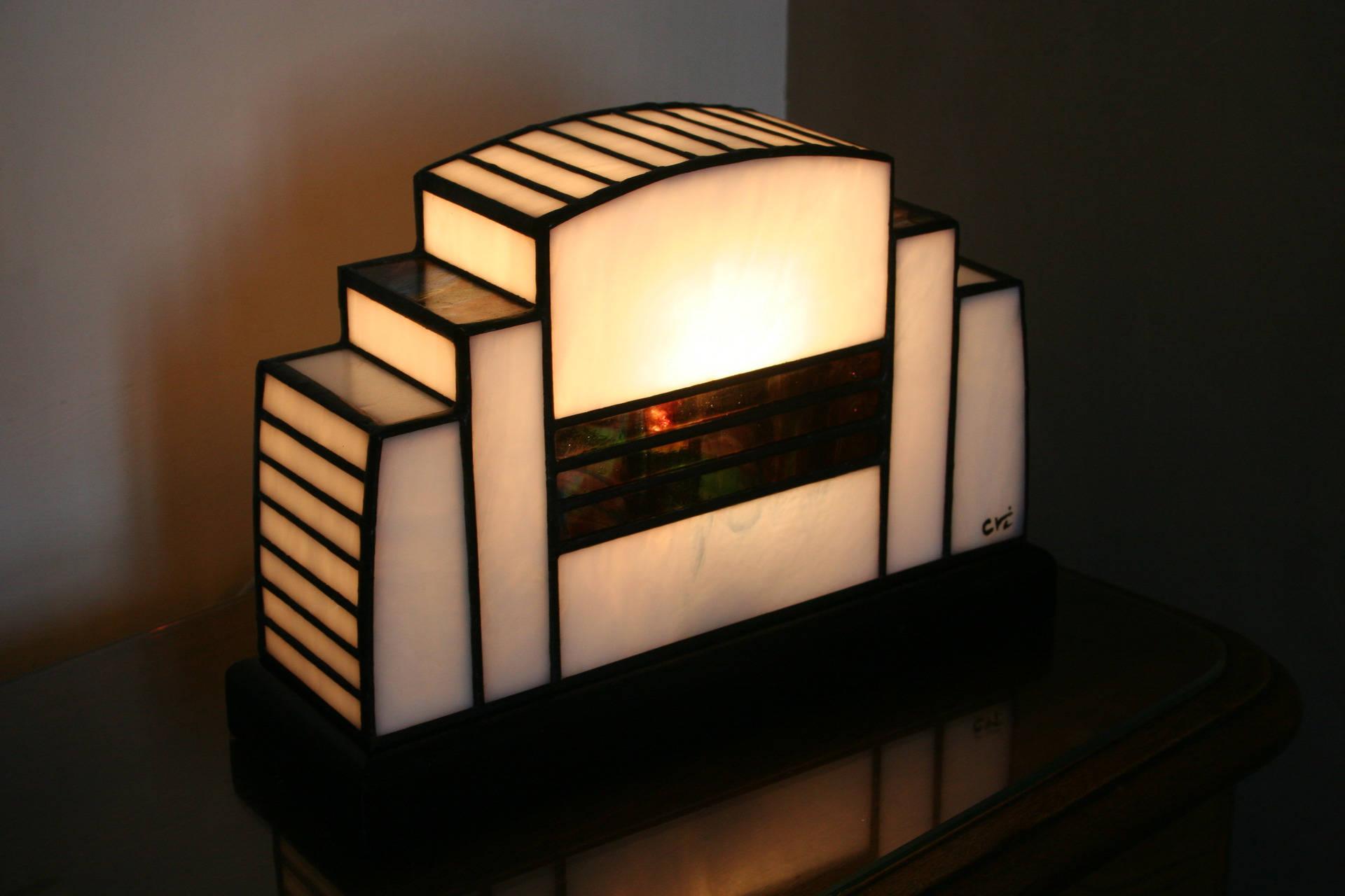 Lampe art d co 1930 en vitrail tiffany for Art deco lampe