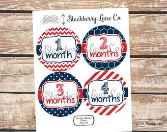 Monthly Baby Stickers, Multi-Pattern, Baby Month Stickers, Baby Pictures, Monthly Baby Stickers, Navy, Red, Baby Boy, Baby Girl, Americana