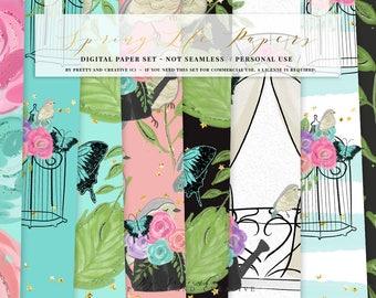 Spring Digital Paper Set, Flowers Digital Paper, Flowers Spring, Glitter Flowers, Glitter Spring, Colorful Papers, Digital Paper Set