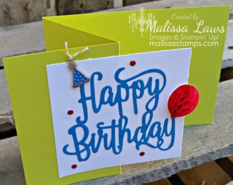 Happy Birthday Card with Balloon and hat/Gift/Greeting Card