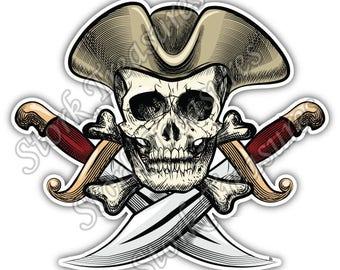 Pirate Skull Crossbones Jolly Roger Knife Car Bumper Vinyl Sticker Decal