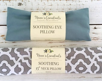 Cotton Neck 15 inch and Eye Pillow - Lavender and Peppermint - Hot or Cold Compress - Aromatheraphy -Spa like - Flax Seed- Gift-Comforting