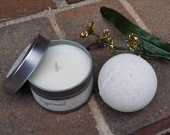 Gift Set -Fragrance Oil  Bath Bomb & 4 oz Soy Candle - Gifts under 15- Travel Tin -Aromatherapy - Spa Like Gifts-Teacher Gifts
