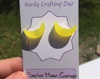 Sailor moon earring, resin earrings, cresent moon earrings