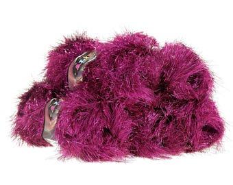 5 x 100 g ALIZE DECOFUR SIM, #621-01 fuchsia fringe Cardigan with lurex