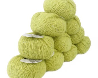 10 x 50 g luxury Knitting yarn Sapphire lime sequins, color 043