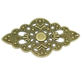 100 decorations - ornaments - diamond 5.2 x 3 cm, antique brass,