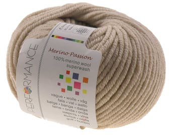 10 x 50g knitted yarn merino passion Superwash, #08 Beige