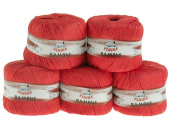 5 x 50 g Knitting yarn bamboo of by VLNIKA, #313 raspberry Red