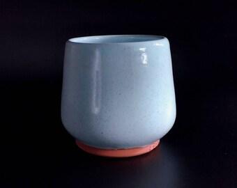 Pottery blue Yunomi ceramics and pottery tea bowl Handmade pottery teacup clay coffee mug ceramic coffee mug unique pottery juice cup