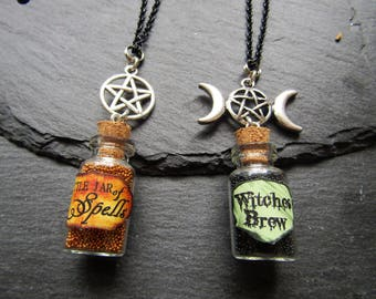 Witch Mini Bottle Necklace,  Spell Mini Bottle Necklace, Witch Necklace, Spell Necklace, Triple Moon, Pentagram, Wicca, Pagan, Goth, Witchy