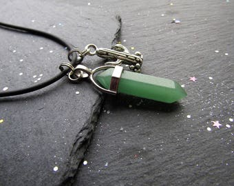 Green Aventurine and Cactus Necklace, Cactus necklace, Green Stone Necklace, Green Aventurine Necklace, Men Jewelley, Gift for Him, Cactus