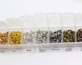 1 box (210pcs) 12mm lobster clasps in mixed colour