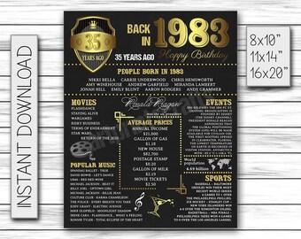 35th Birthday Poster, 1983 Birthday, 35th Birthday Party, Chalkboard Poster, 1983 Events Poster, 35 Year Birthday, Printable DIGITAL FILE