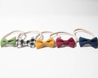 Tiny Bow Headband, multiple color/print