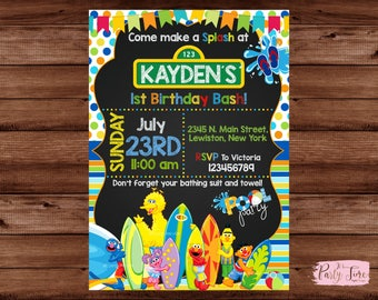 Sesame Street Invitation - Sesame Street Birthday Invitation - Pool Party Invitation - Sesame Street Pool Party Invitation