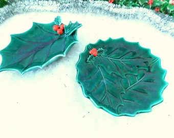 Holly Leaf Christmas Dishes candy dish Christmas plate 1960s SHIPPING INCLUDED