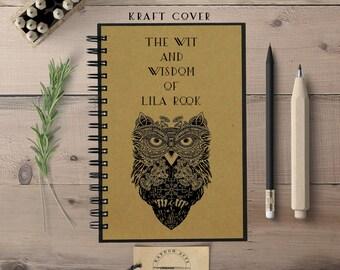 Custom Notebook, Personalized Journal, Writing Journal, Owl, Writer Journal, Custom Journal, Hardcover Notebook, Spiral Notebook
