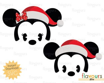 Minnie and Mickey Christmas Santa Hat - INSTANT DOWNLOAD - For Cutting - Only SVG Files