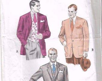 "Vintage 1950's Sewing Pattern Men's Cardigan Tailored Jacket Vest Waistcoat Chest 38"""
