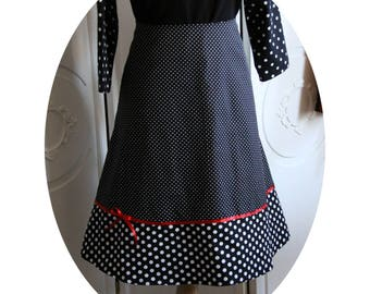 Pin Up sleeveless black cotton short skirt has white polka dots