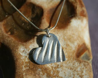 Textured Fine Silver Heart Pendant with Sterling Silver Snake Chain
