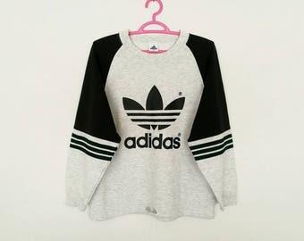 Rare!! Vintage Adidas Trefoil Big Logo Spellout Sweatshirt