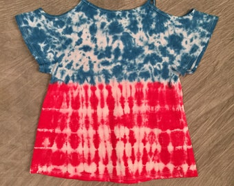 American Flag Top, Girls Size 7 8, Cold Shoulder Shirt, Girls Cut-Out Shirt, Cute Tie-Dye Top, Kids Tye Dye, Girls Patriotic Top, C0617216