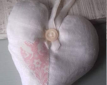 Lavender love heart, applique lavender heart, white damask linen heart, shabby chic style heart, country style heart.