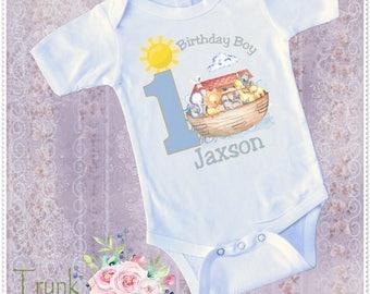Noah Ark Birthday Bodysuit or Tee: Boys Noah Ark personalized Birthday; Boys Noah Ark 1st or 2nd Birthday Bodysuit or Tee