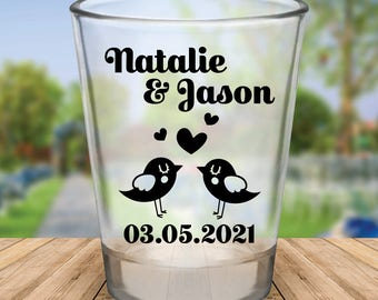 Custom Personalized Love Birds Wedding Favor Shot Glasses