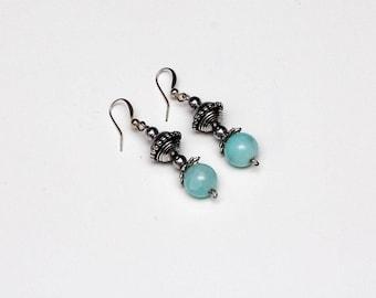 Silver & Light Blue Beaded Dangle Drop Earrings.