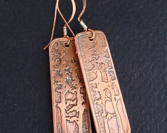 Copper Etched White Pine Earrings