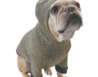 Fleece Lined Dark Grey/Black Heathered Sweater Dog Hoodie - French Bulldog Clothing