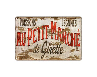 Poissons Légumes Au Petit Marche De Ginette Vintage Retro Metal Sign Decor Shop