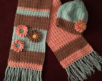 Hat - Scarf - women's - teens - christmas gift - Hat and Scarf Set - Slouch and Scarf - Winter Set