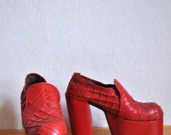 1970s vintage mens / womens glam rock platform shoes from spain